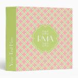 Elegant Monogrammed Clover Pattern Pink & Green Binders