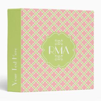 Elegant Monogrammed Clover Pattern Pink & Green Binder