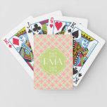 Elegant Monogrammed Clover Pattern Pink & Green Bicycle Card Deck
