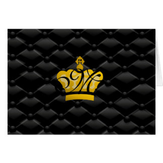 Elegant Monogrammed Crown Tufted Black Card