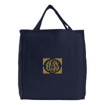 Elegant Monogrammed Embroidered Tote Bag