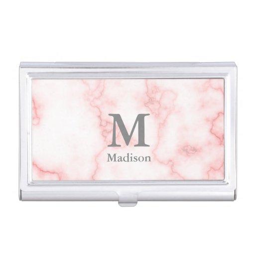 Elegant Monogrammed Faux Pink Marble Business Card Case