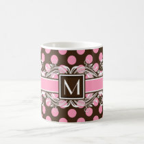 Elegant Monogrammed Geometric Dot Pattern Coffee Mug