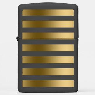 Elegant Monogrammed Gold Stripes