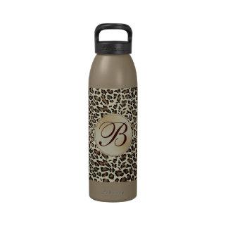 Elegant Monogrammed Leopard Fancy and Girly Drinking Bottle