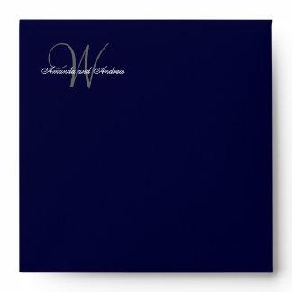 Elegant Monogrammed Navy Blue Gray Wedding Envelope