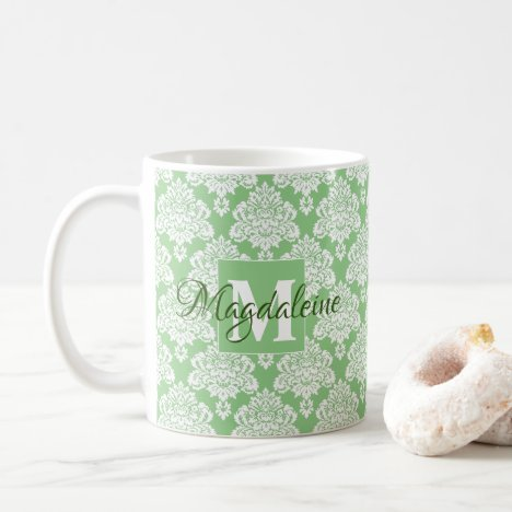 Elegant Monogrammed Sage Green & White Damask Coffee Mug