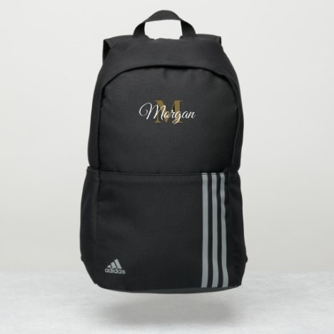 Elegant Monogrammed Script Black White and Gold Adidas Backpack