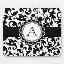 Elegant Monogrammed Scroll Damask Black and White Mouse Pad