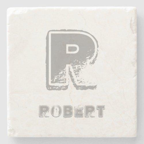 Elegant Monogrammed Template Stylish Design Rustic Stone Coaster