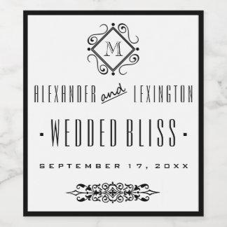 Elegant Monogrammed Wedding Wine Label