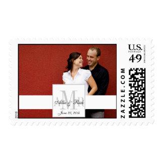 Elegant Monograms Couple Photo Wedding Postage