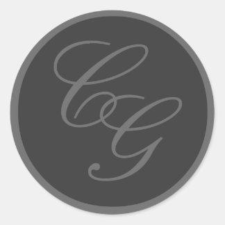 Elegant Monograms Grey Wedding Sticker