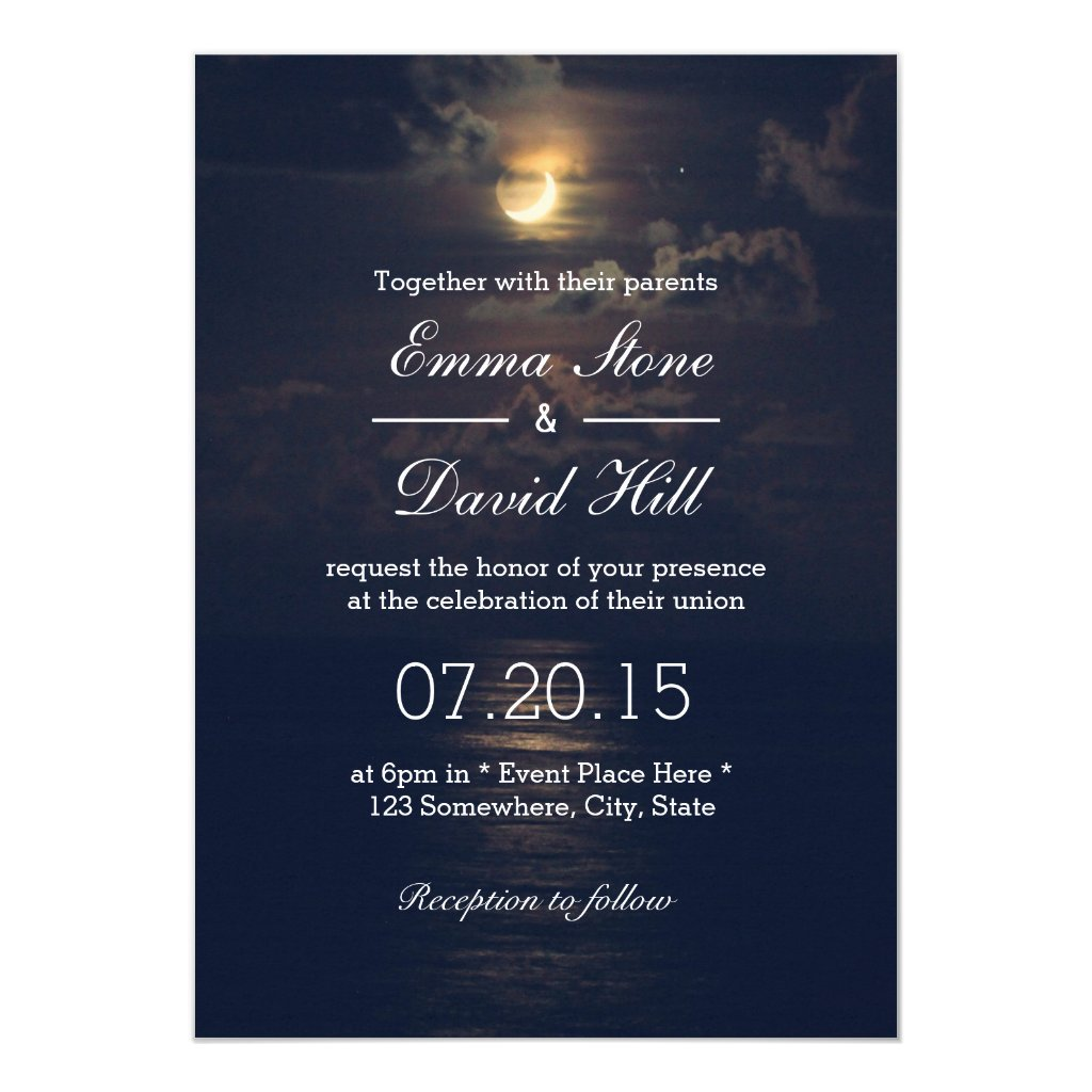 Elegant Moon Night Wedding Invitations
