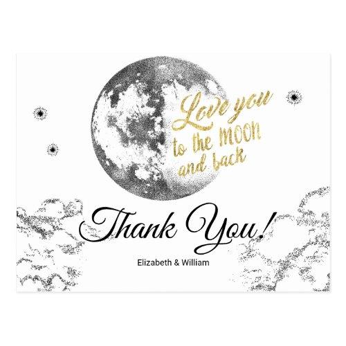 Elegant Moon Stars Crescent Wedding Thank You Postcard