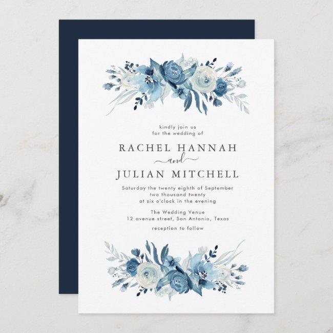 Elegant moonlight blue watercolor floral wedding invitation