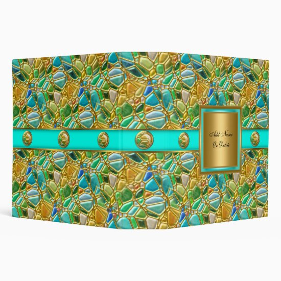 Elegant Mosaic Teal Blue Aqua Gold Button 3 Ring Binder