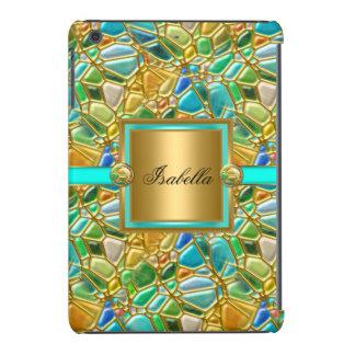 Elegant Mosaic Teal Blue Aqua Gold Overlay iPad Mini Cover