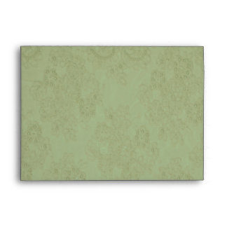 Elegant Moss Green Beaded Lace Card Envelope