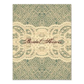 elegant  moss green burlap lace country wedding card