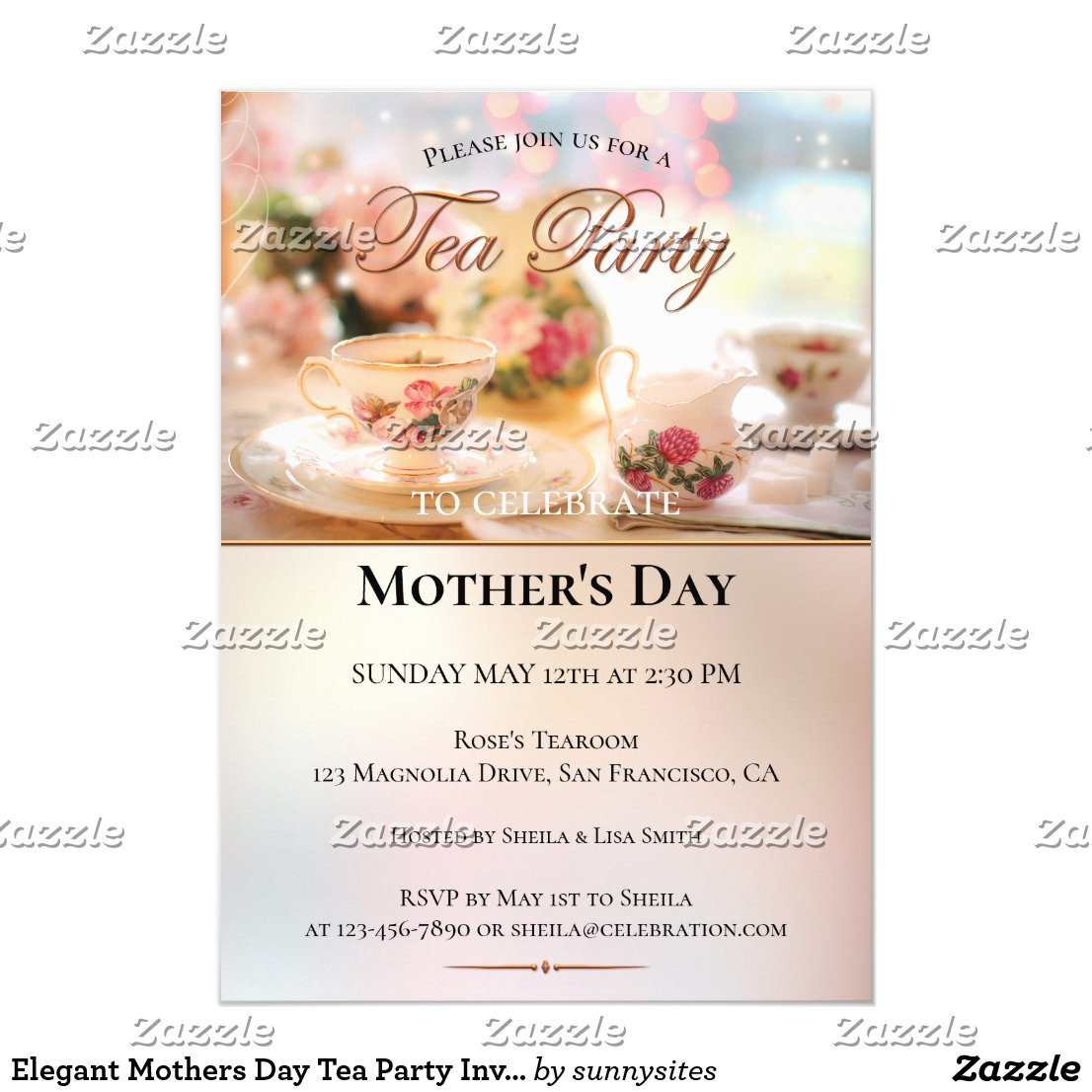 Elegant Mothers Day Tea Party Invitation