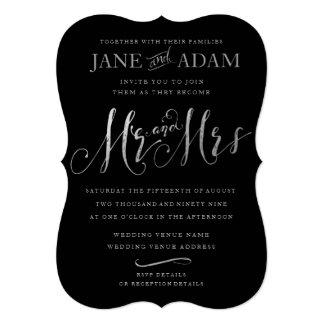 Elegant Mr & Mrs Black & Silver Typography Wedding Card
