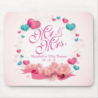 Elegant Mr. & Mrs. Candy Hearts | Mousepad