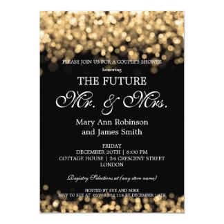 Elegant Mr Mrs Couples Shower Gold Lights Invitation