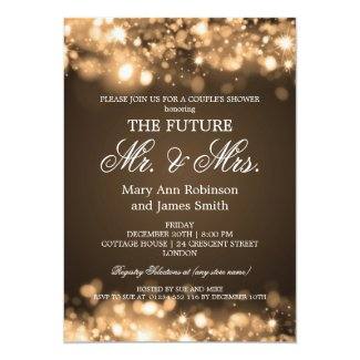 Elegant Mr Mrs Couples Shower Gold Sparkle Lights Invitation