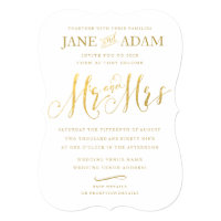 Elegant Mr & Mrs Gold Typography Wedding Invite