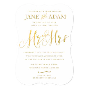 Mr And Mrs Wedding Invitations Announcements Zazzle