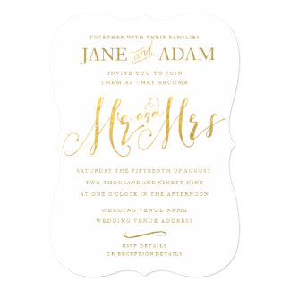 Elegant Mr & Mrs Gold Typography Wedding Invite