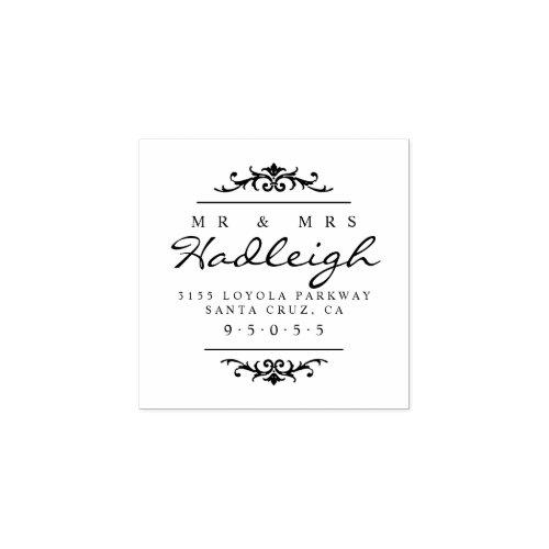 Elegant Mr  Mrs Script Wedding Return Address Rubber Stamp