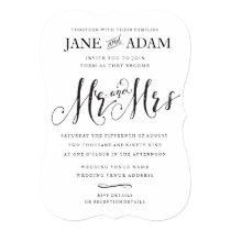 Elegant Mr & Mrs Typography Wedding Invitation