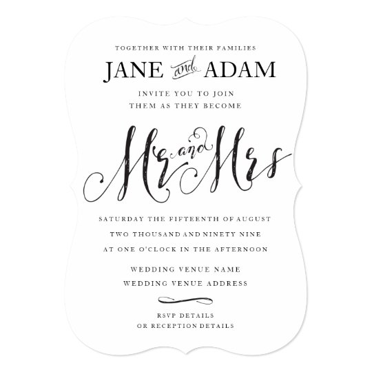 Elegant Mr Mrs Typography Wedding Invitation Zazzle Com