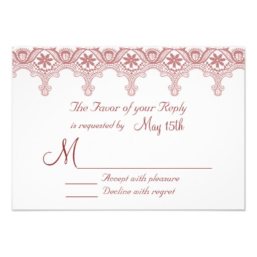 Elegant Mulberry Wine Lace Wedding RSVP Cards Personalized Announcements