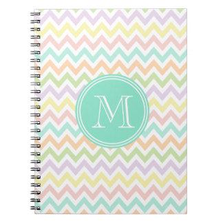 Elegant multicoloured geometry of chevrón monogram spiral notebook