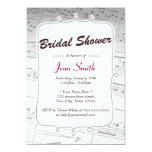 "Elegant Music Notes Bridal Shower Invitation 5"" X 7"" Invitation Card"