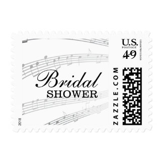 Elegant Music Notes Bridal Shower Stamps