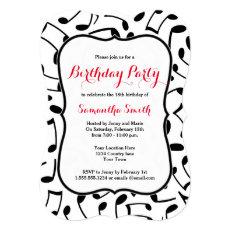 Elegant Music Notes Themed Birthday Party Invite