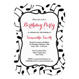 Elegant Music Notes Themed Birthday Party Invite