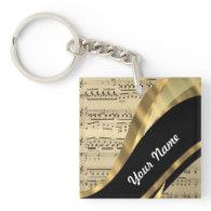 Elegant music sheet acrylic keychain