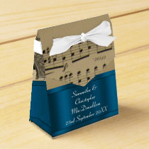 Elegant music sheet and blue wedding favor box