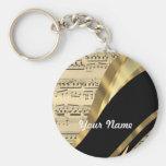 Elegant music sheet basic round button keychain