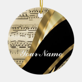 Elegant music sheet ceramic ornament