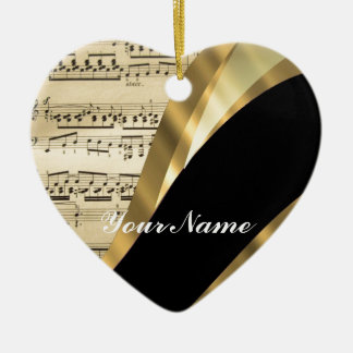 Elegant music sheet ceramic ornament