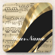 Elegant music sheet drink coasters