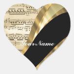 Elegant music sheet heart stickers