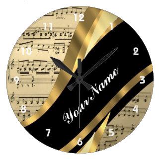 Elegant music sheet large clock