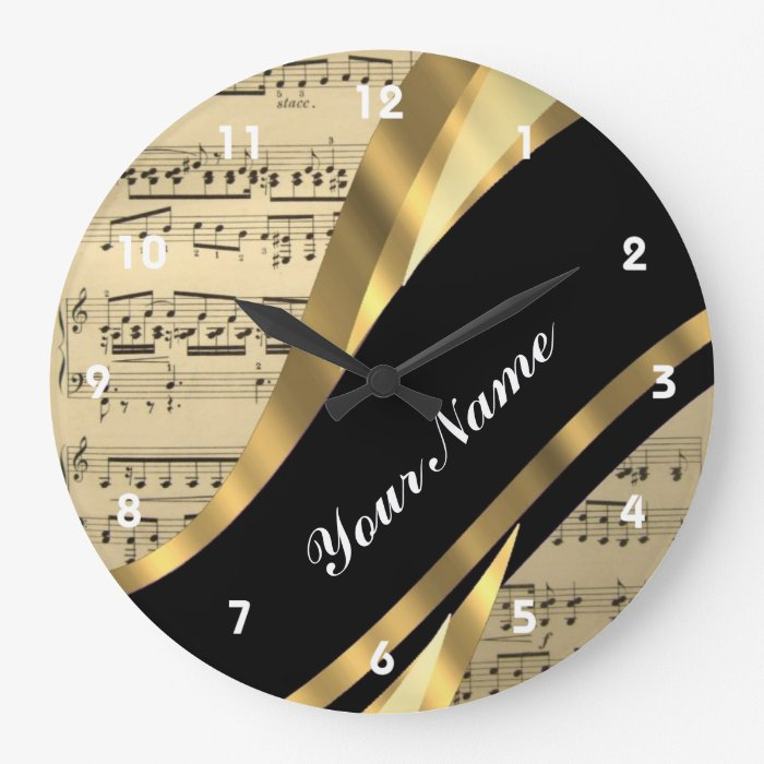 Elegant music sheet large clock
